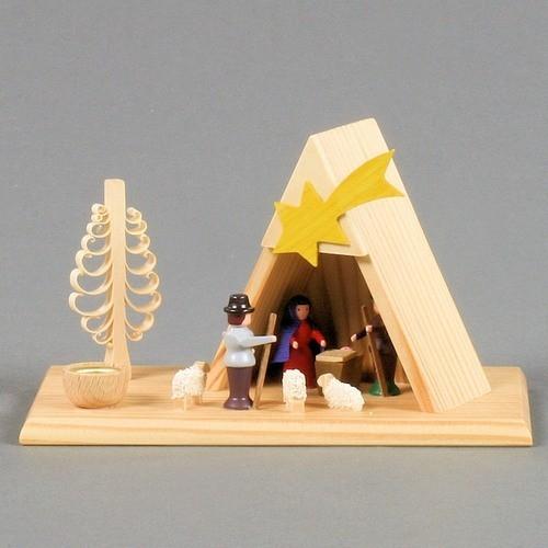 Dregeno Erzgebirge - Kerzenhalter mit Christi Geburt - 8cm