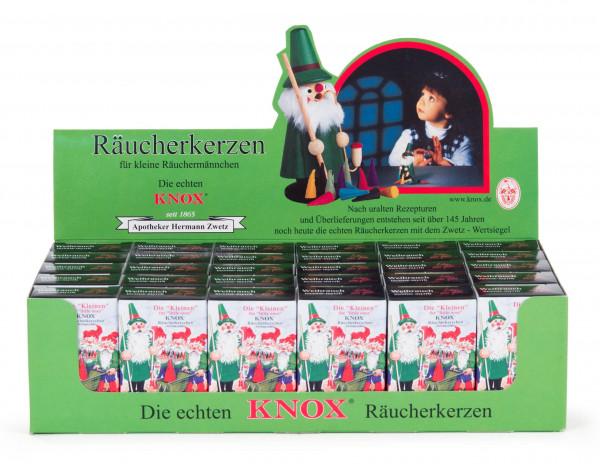 Dregeno Erzgebirge - Verkaufsdisplay KNOX Mini-Räucherkerzen Weihrauch, 30 Schachteln à 24 Stück