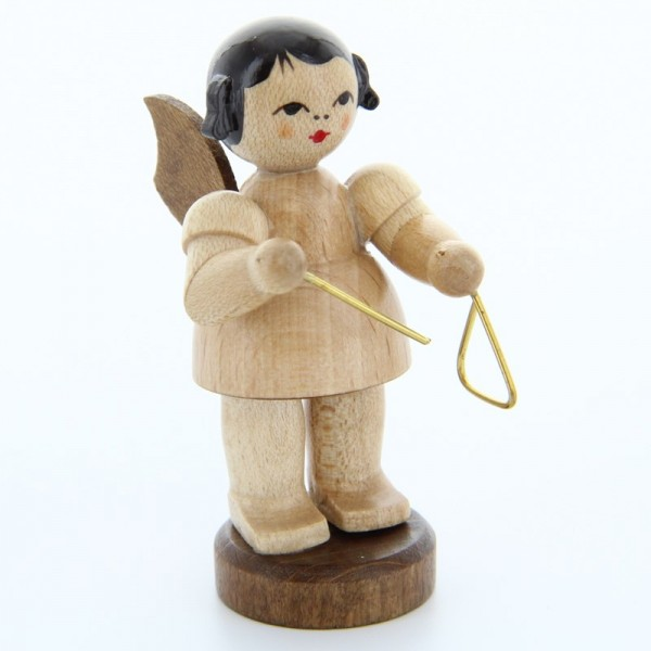 Uhlig Engel stehend mit Triangel, natur, handbemalt