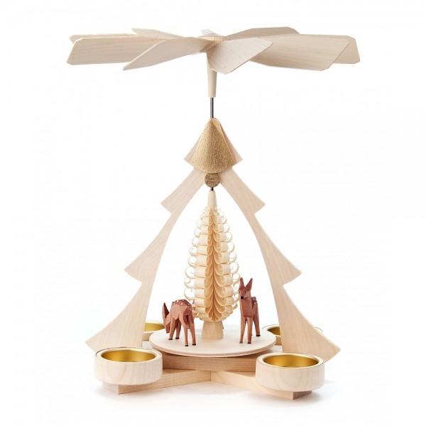 Dregeno Erzgebirge - Pyramide klein mit geschnitzte Rehe, für Teelichter - 27cm