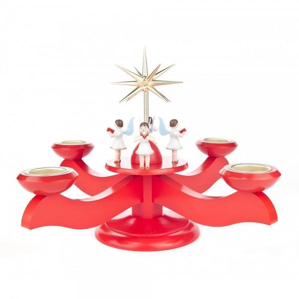 Dregeno Erzgebirge - Adventsleuchter mit Stern und Engeln, für Teelichter, rot - 25cm