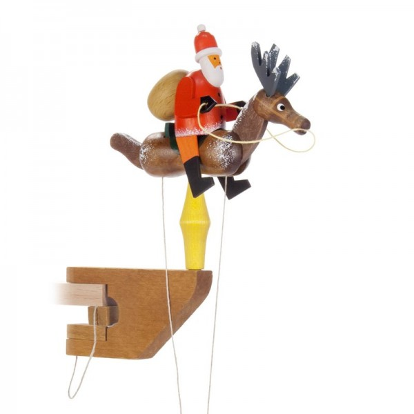 Dregeno Erzgebirge - Miniatur-Pendelreiter Weihnachtsmann auf Rentier
