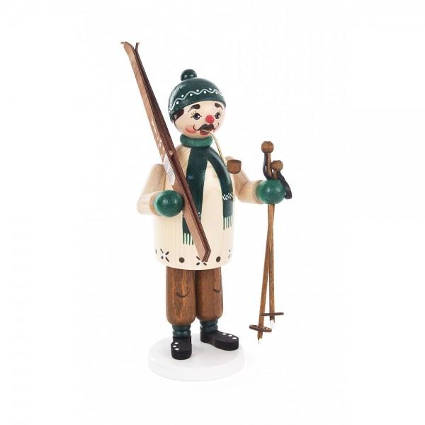 Dregeno Erzgebirge - Räuchermann Skifahrer, grün - 18cm
