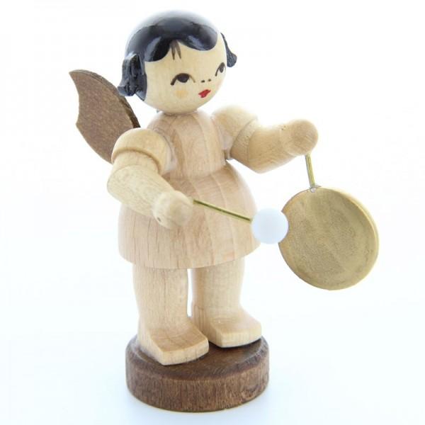 Uhlig Engel stehend mit kleinem Gong, natur, handbemalt