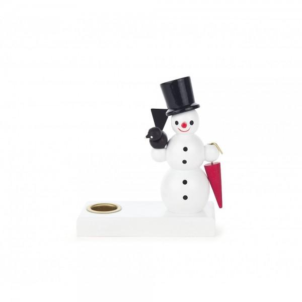 Dregeno Erzgebirge - Kerzenhalter mit Schneemann und Schirm - 8cm