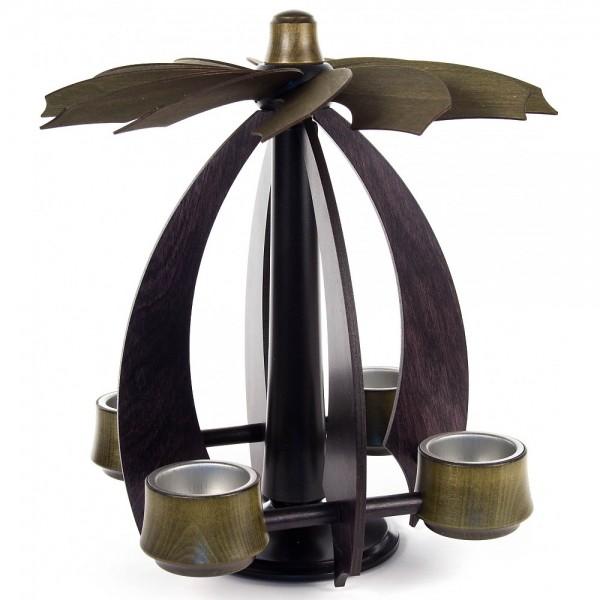 Dregeno Erzgebirge - Schwebepyramide NOVA klein anthrazit-moosgrün für Teelichte