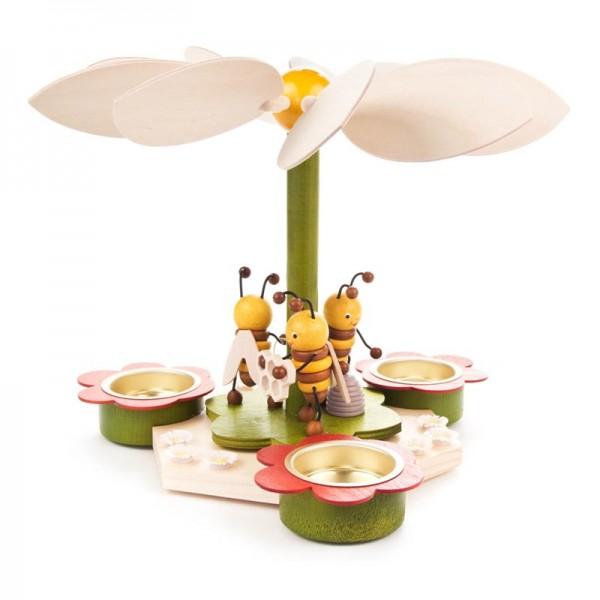 Dregeno Erzgebirge - Frühlingspyramide mit Bienen, für Teelichter