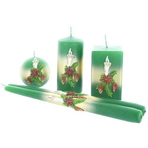 Weihnachtskerze Grün - Kerzenset mit Kerze - 5-teilig