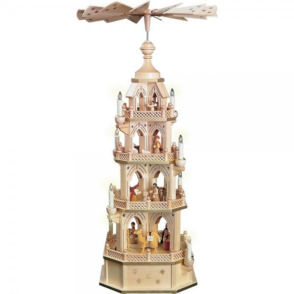 Richard Glässer Gotische Pyramide gesägt Naturholz Christi Geburt 4-stöckig elektrisch 90cm