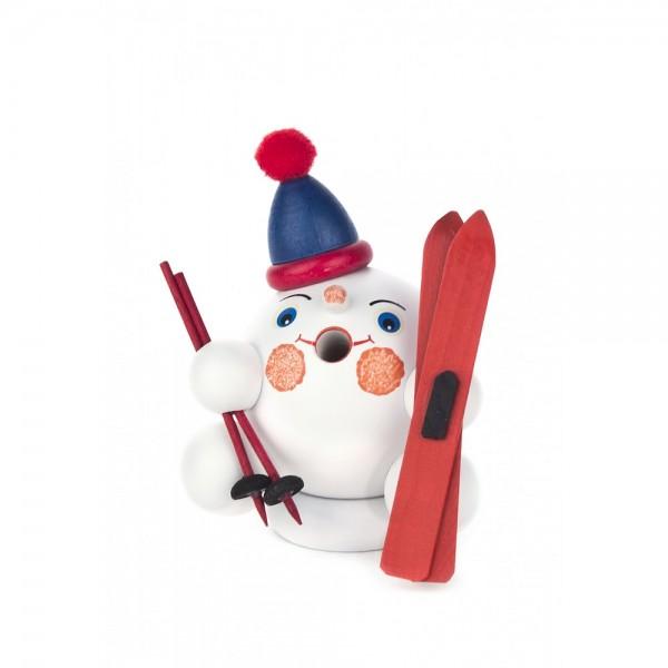 Dregeno Erzgebirge - Miniatur-Räucherfigur Schneeball mit Ski - 8cm