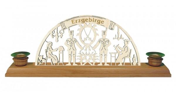 Lenk & Sohn Kerzenständer Erzgebirge 2-flammig Schwibbogen Bergmann