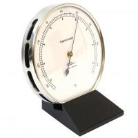Fischer Präzis Thermometer im Edelstahlgehäuse mit Holzfuss Schwarz