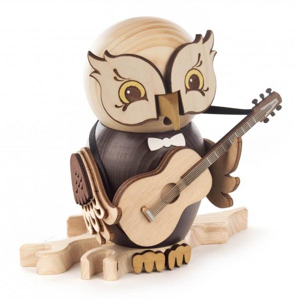 Dregeno Erzgebirge - Räucherfigur Eule mit Gitarre
