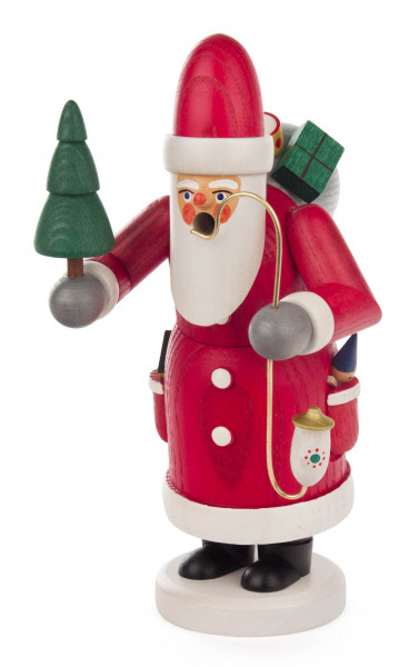 Dregeno Erzgebirge - Räuchermann Weihnachtsmann mit Baum, lasiert