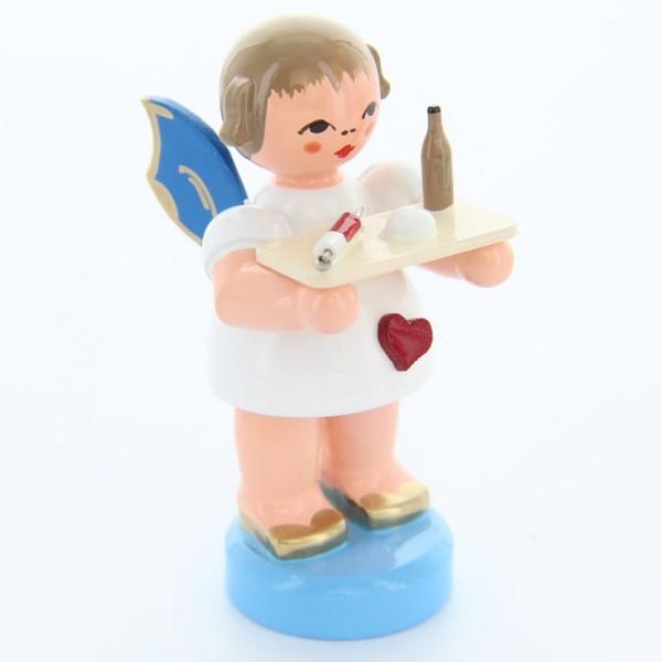 Uhlig Engel stehend mit Spritze, blaue Flügel, handbemalt