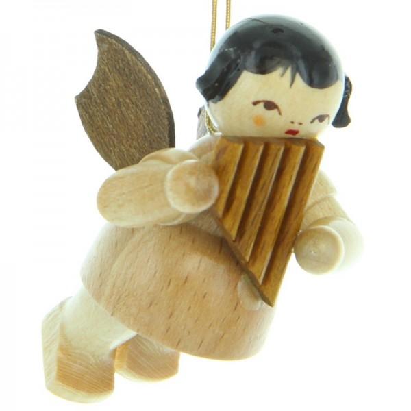 Uhlig Engel schwebend mit Panflöte, natur, handbemalt