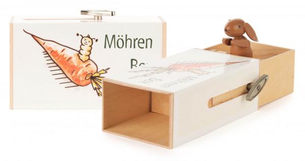 Dregeno Erzgebirge - Schiebebox »Möhren-Box« mit Hase, Melodie: Humpty Dumpty