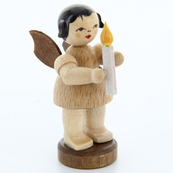 Uhlig Engel stehend mit Kerze, natur, handbemalt