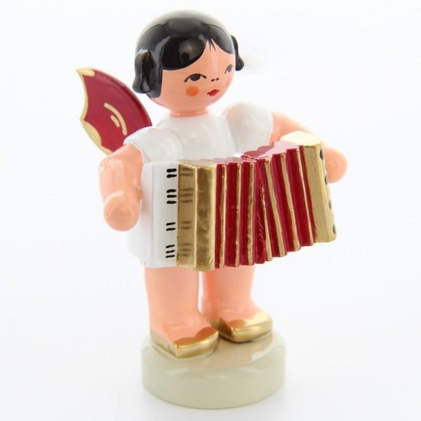 Uhlig Engel stehend mit Akkordeon, rote Flügel, handbemalt