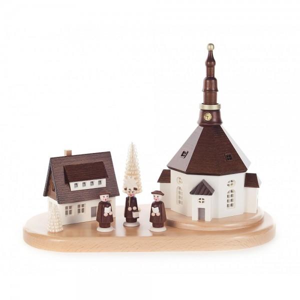 Dregeno Erzgebirge - Seiffener Kirche mit Haus auf Sockel, elektrisch beleuchtet - 24cm