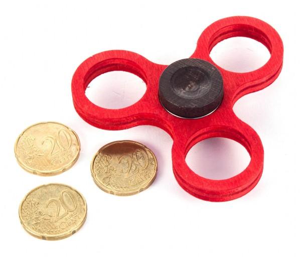Dregeno Erzgebirge - Holz-Hand-Kreisel klein, rot (für 20-Cent-Münzen)