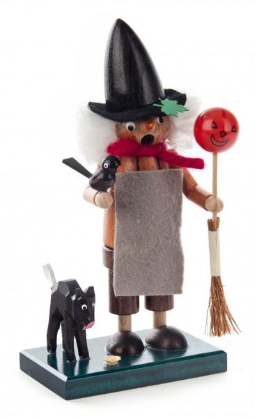 Dregeno Erzgebirge - Mini Rauchfrau Hexe mit Katze