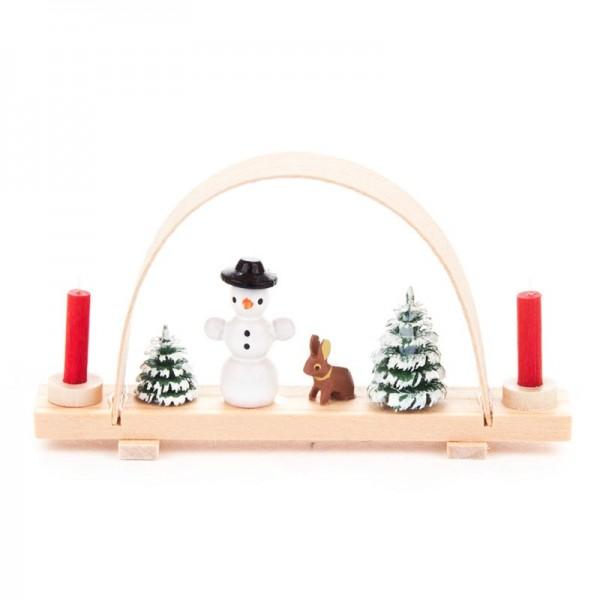 Dregeno Erzgebirge - Miniatur-Schwibbogen mit Schneemann und Hase