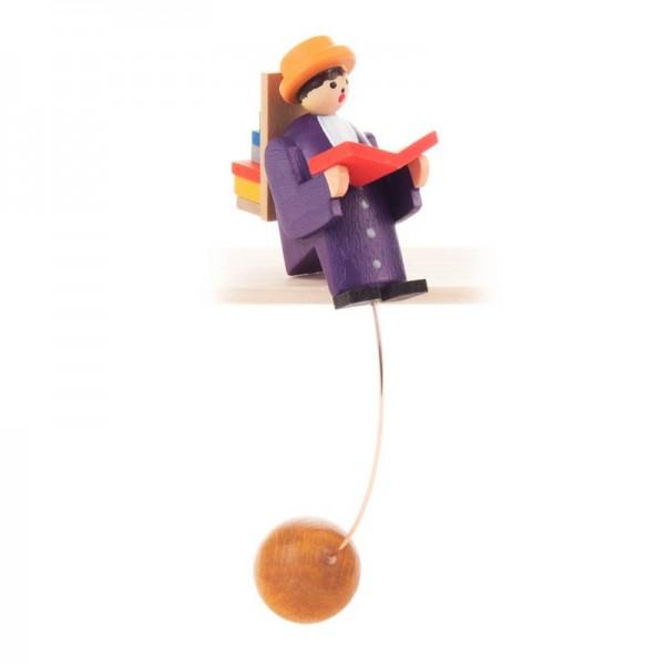 Dregeno Erzgebirge - Miniatur-Schaukelfigur Bücherwurm