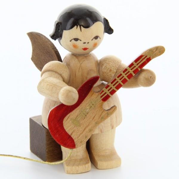 Uhlig Engel sitzend mit E-Gitarre, natur, handbemalt