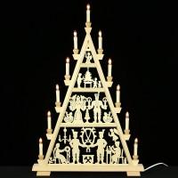 Holzkunst Niederle - Erzgebirgische Lichterspitze - Engel und Bergmann - 4 Etagen