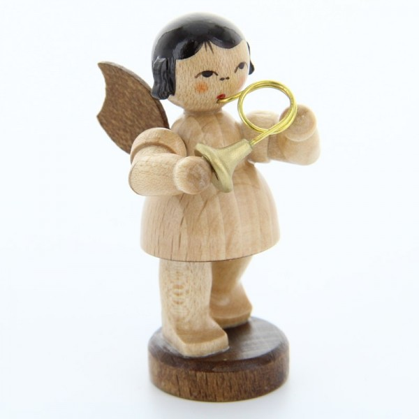 Uhlig Engel stehend mit Waldhorn, natur, handbemalt