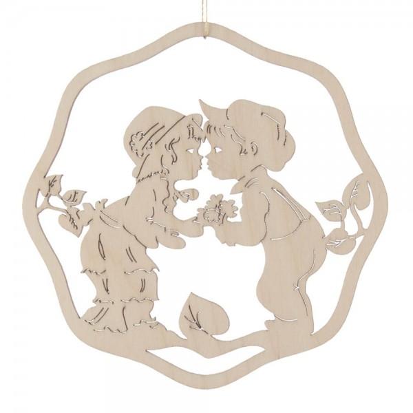 Dregeno Erzgebirge - Fensterbild klein, Motiv: küssende Kinder, natur