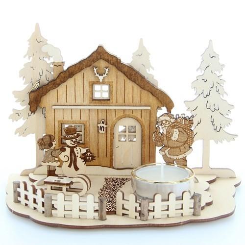 HELA Holzkunst - Teelichthalter Weihnachtsszene - Forsthaus mit Schnee- und Weihnachtsmann, graviert