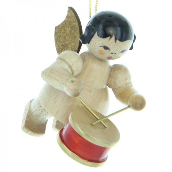 Uhlig Engel schwebend mit Trommel , natur, handbemalt