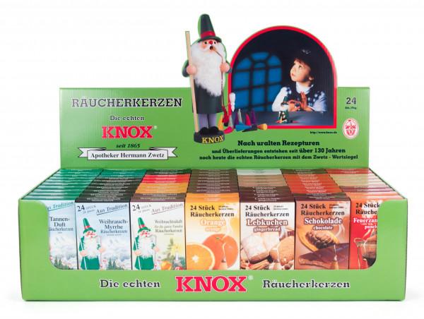Dregeno Erzgebirge - Verkaufsdisplay KNOX Räucherkerzen, 70 Schachteln à 24 Stück