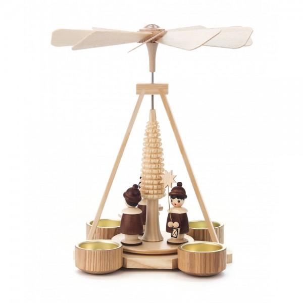 Dregeno Erzgebirge - Pyramide klein mit Spanbaum und Kurrende, für Teelichter - 25cm