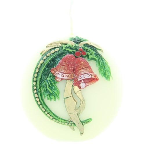 Weihnachtskerze Weiß - Kugel mit Glocke - 7cm