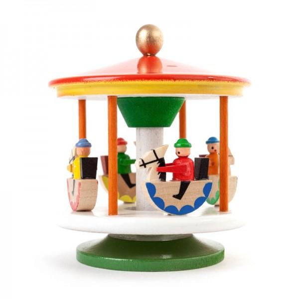 Dregeno Erzgebirge - Miniatur-Karussell mit Reiterlein, farbig