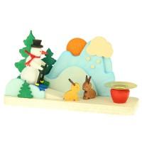 Graupner Holzminiaturen - Kleiner Leuchter Schneemann mit Hase