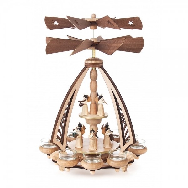Dregeno Erzgebirge - Pyramide mit Engel, für Teelichte - 41cm