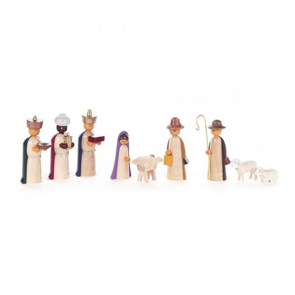 Dregeno Erzgebirge - Krippefiguren Christi Geburt, farbig - 9-teilig