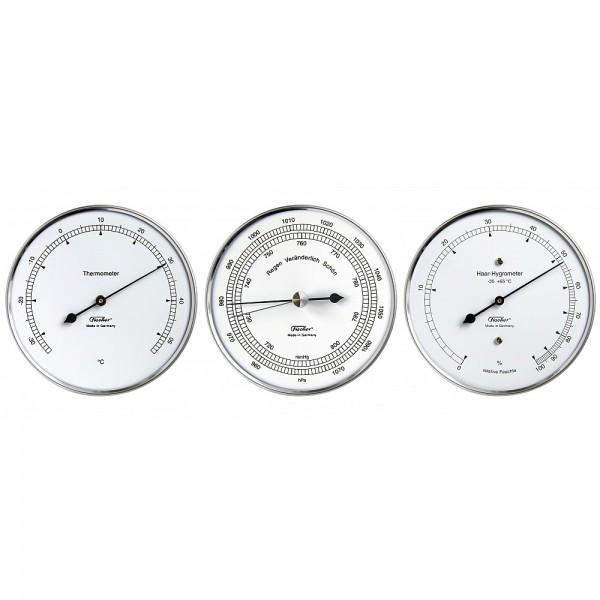 Fischer Wetter-Set - Thermometer, Haar-Hygrometer, Barometer im Edelstahlgehäuse