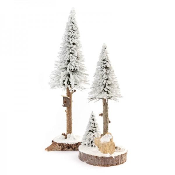 Dregeno Erzgebirge - Miniatur-Nadelbäume mit Vogelhaus, weiß, 2-teilig