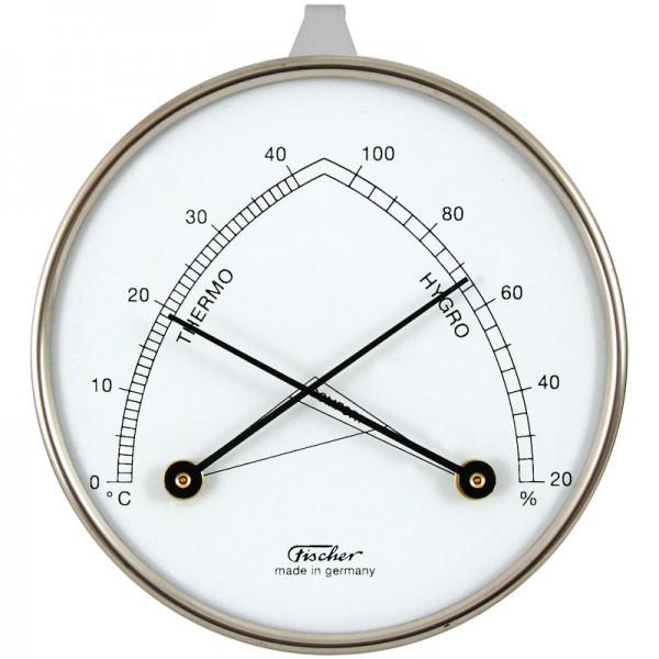 Fischer Raumklimamesser mit Hygrometer und Thermometer - Metallgehäuse 87mm