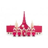 Dregeno Erzgebirge - Kurrende rot, mit Kirche, Häuser und Bäumchen