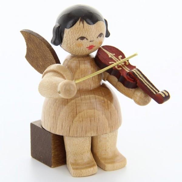 Uhlig Engel sitzend mit Violine, natur, handbemalt