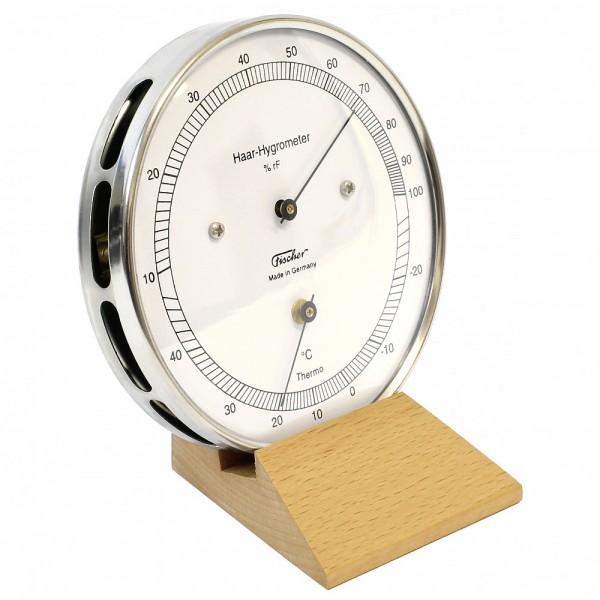 Fischer Präzis Haar-Hygrometer mit Thermometer im Edelstahlgehäuse mit Holzfuss Buche