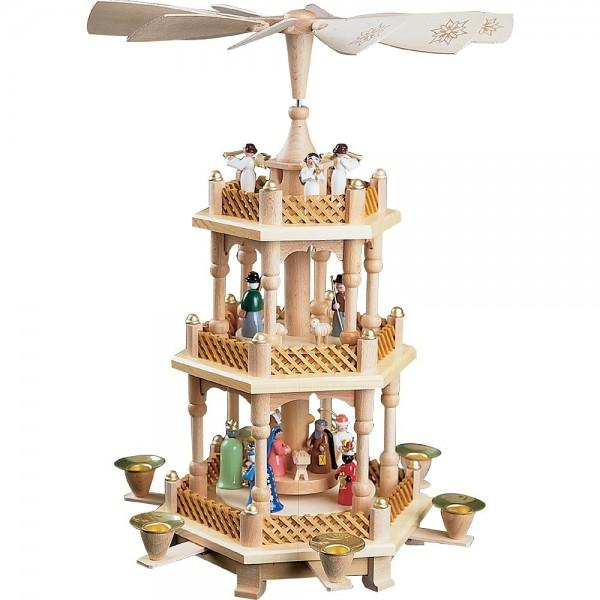 Richard Glässer Erzgebirgspyramide Christi Geburt 2-stöckig bunt 40cm