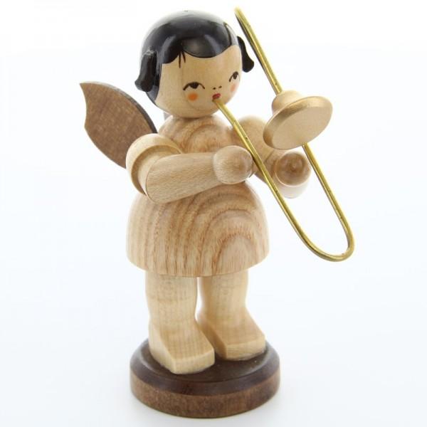 Uhlig Engel groß stehend mit Posaune, natur, handbemalt