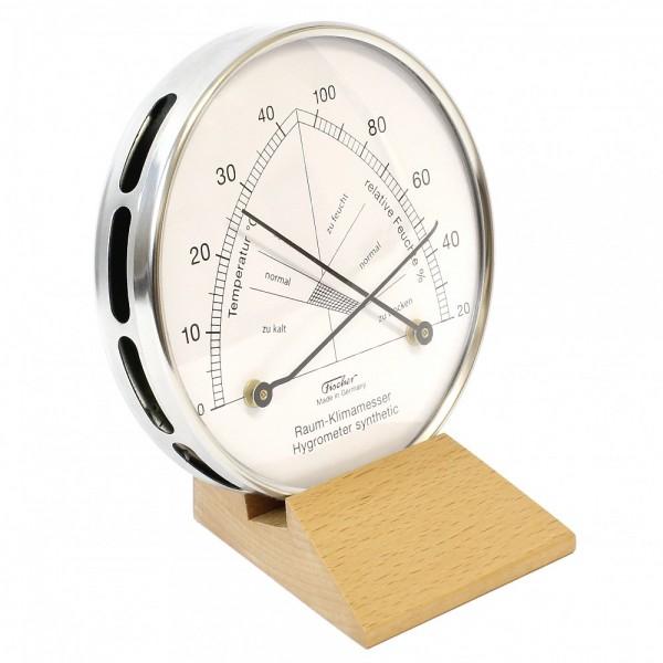 Fischer Raum-Klimamesser synthetic mit Thermometer im Edelstahlgehäuse mit Holzfuss Buche